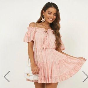 Showpo blush stripe mini dress